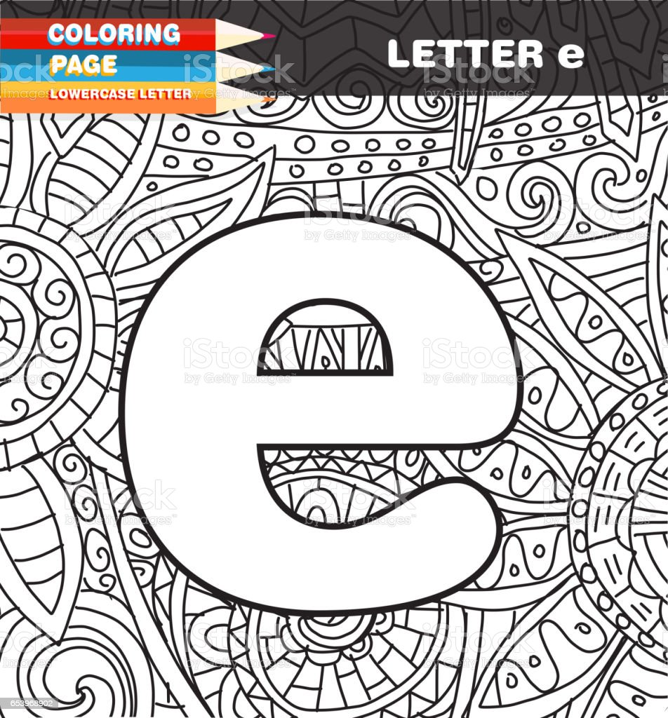 lower case letter coloring page doodle stock vector art 653968902