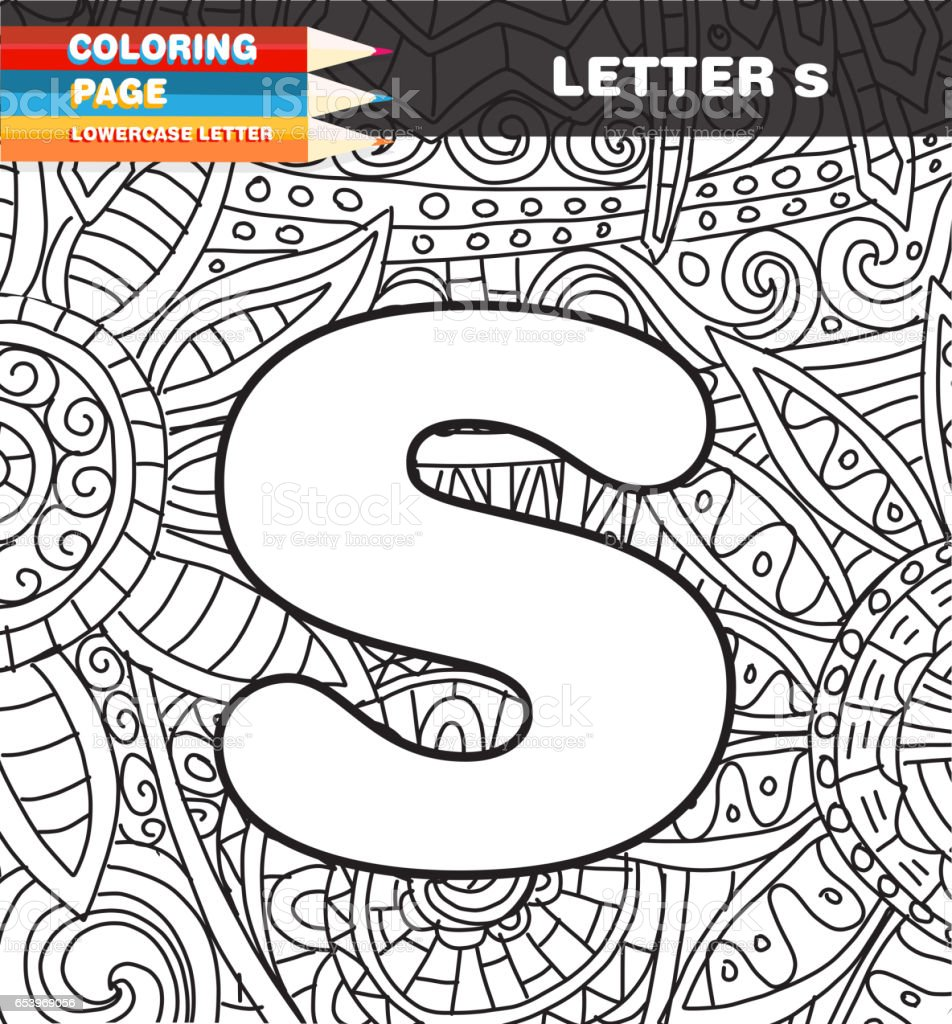 Lower Case Letter Coloring Page Doodle Stock Vector Art More