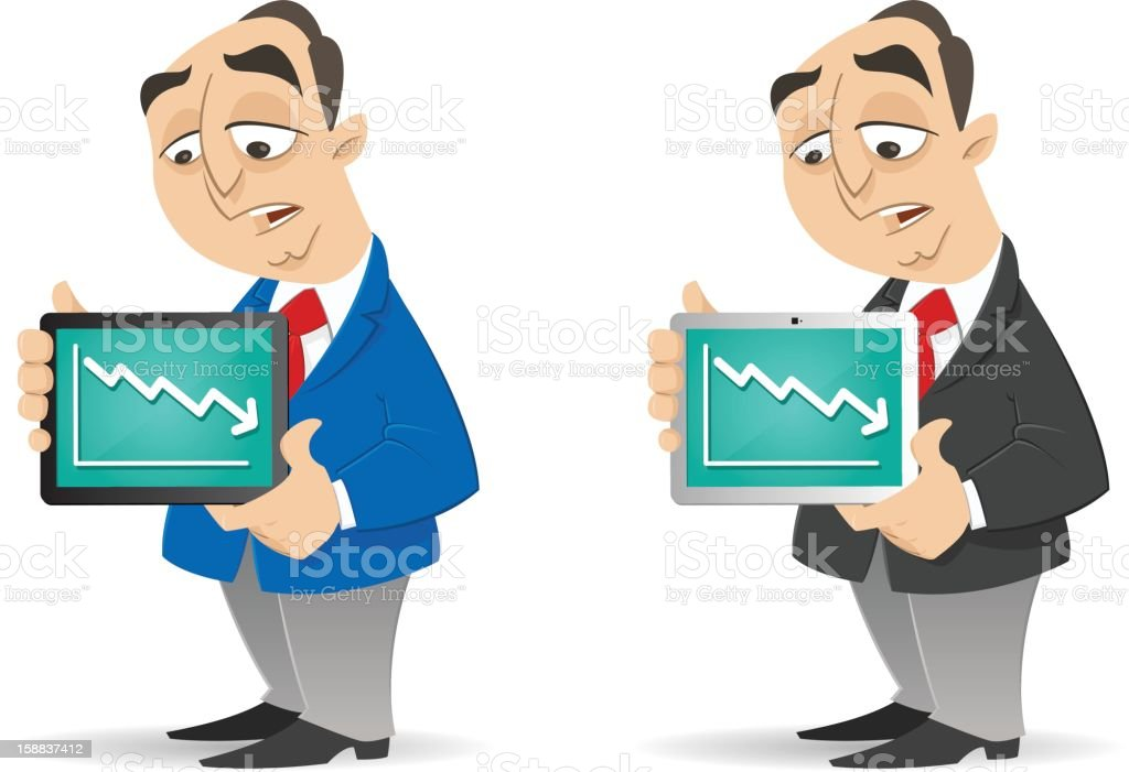 Lower income shown on Tablet royalty-free stock vector art