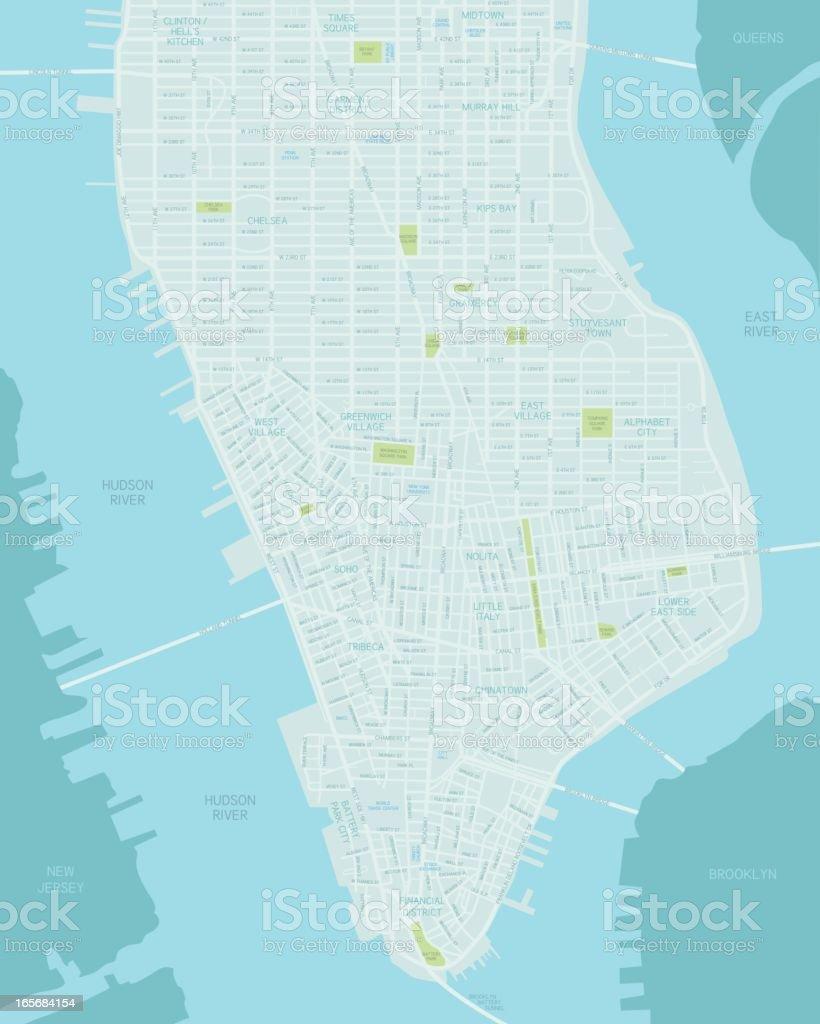 Lower Manhattan Map Stock Illustration - Download Image Now ...