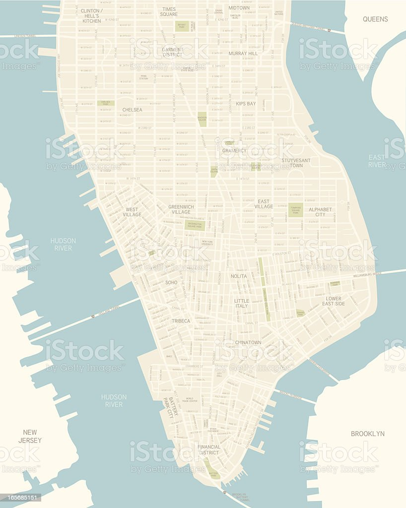 Lower Manhattan Map vector art illustration
