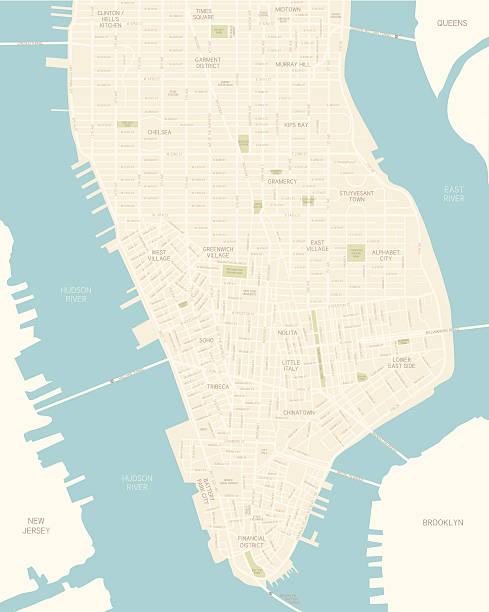 lower manhattan map - new york map stock illustrations, clip art, cartoons, & icons
