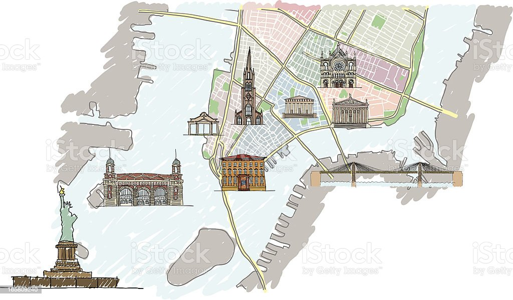 Lower Manhattan map with buildings vector art illustration