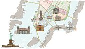 Lower Manhattan map with buildings