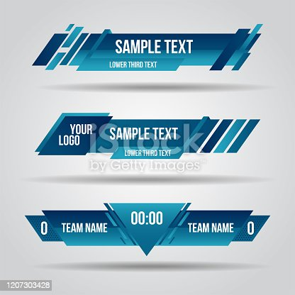istock Lower third blue design template modern contemporary. Set of banners bar screen broadcast bar name. 1207303428