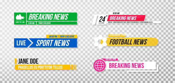 Lower third template. Set of TV banners and bars for news and sport channels, streaming and broadcasting. Collection of lower third for video editing on transparent background vector art illustration