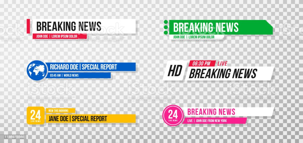 Lower Third Template Set Of Tv Banners And Bars For News
