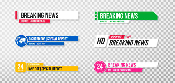 하단 세 번째 템플릿. 뉴스 및 스포츠 채널, 스트리밍 및 방송에 대 한 tv 배너 및 바의 집합입니다. 투명 한 배경에 비디오 편집을 위한 낮은 1/3의 컬렉션 - 역사적 중대 사건 stock illustrations