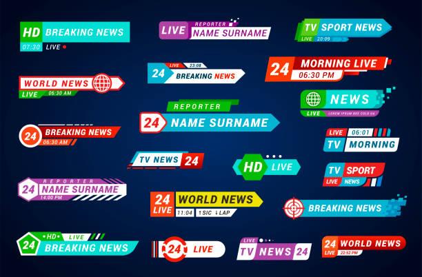 stockillustraties, clipart, cartoons en iconen met lagere derde tv titels set, ontwerp voor omroep en televisie - nieuwsevenement