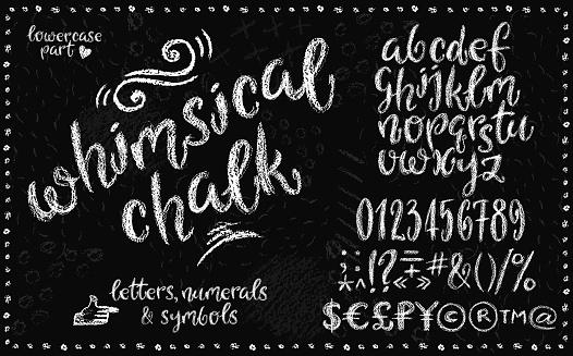 lowercase chalk alphabet set