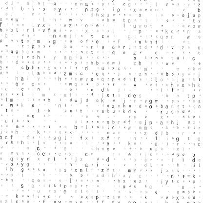 Lowercase gray tone alphabet characters. Random size.