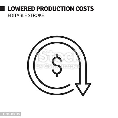istock Lowered Production Costs Line Icon, Outline Vector Symbol Illustration. Pixel Perfect, Editable Stroke. 1191683915
