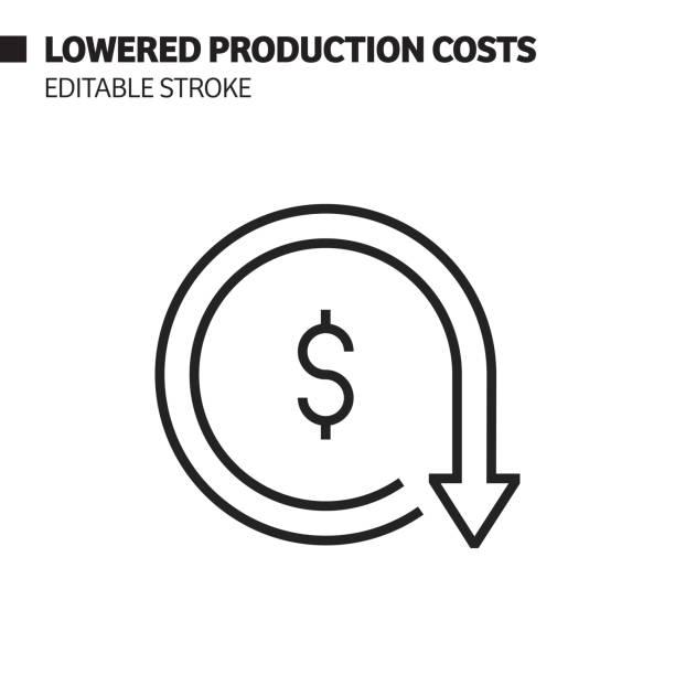 감소 된 생산 비용 라인 아이콘, 윤곽선 벡터 기호 그림. 픽셀 완벽, 편집 스트로크. - 가격 stock illustrations