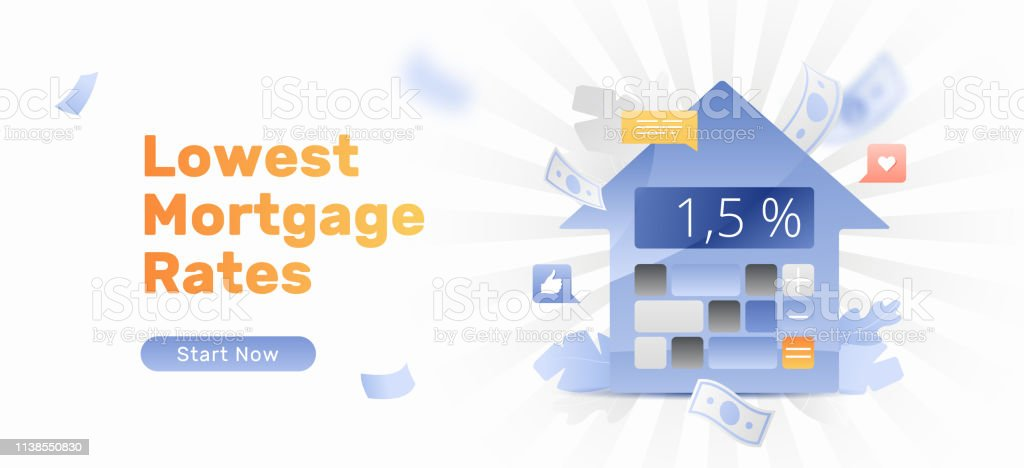 Lowest mortgage rates vector banner template with calculator in house...