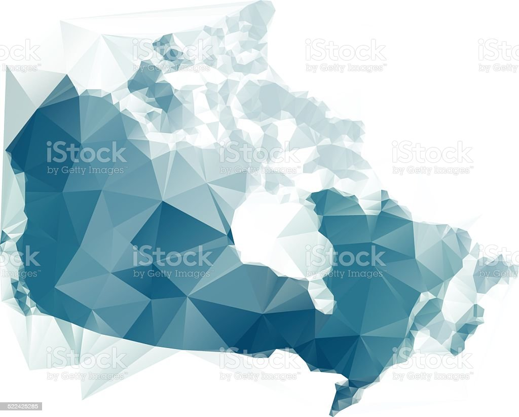 Lowpoly Canada map vector art illustration