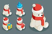 Polar white bear isometric christmas character animal winter new year 3d flat cartoon design vector illustration