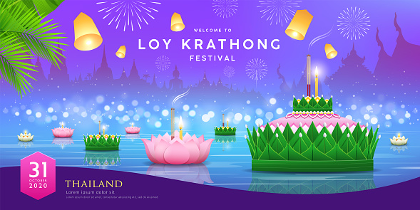 Loy krathong festival thailand, Banana leaf material and pink lotus design, on thailand temple at night river