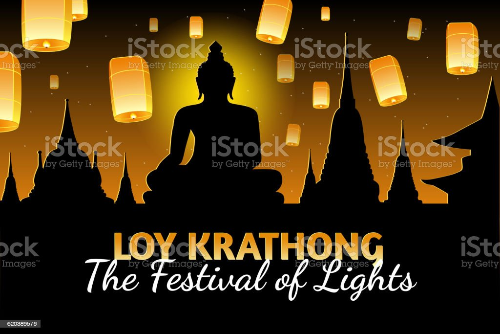 Loy Krathong greeting card with fire lanterns, thai holiday vector art illustration