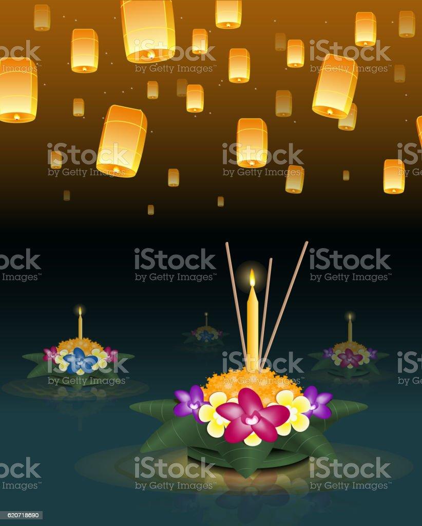 Loy Krathong greeting card with floating lanterns, thai holiday vector art illustration