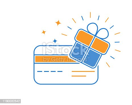 Loyalty gift card, collect bonuses and get rewards. Winner Coupon. Gift box. Vector illustration.