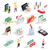 Customer loyalty retention isometric concept icons collection with sixteen isolated images with human characters symbols signs vector illustration
