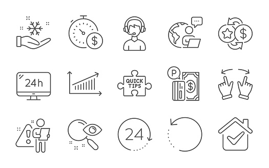 Loyalty points, Quick tips and Search line icons set. 24h service, Last minute and Consultant signs. Recovery data, Parking payment and 24 hours symbols. Chart, Move gesture and Freezing. Vector
