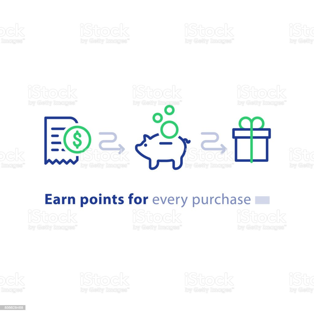 Loyalty program concept, earn points, win gift, shopping incentive, line icons vector art illustration