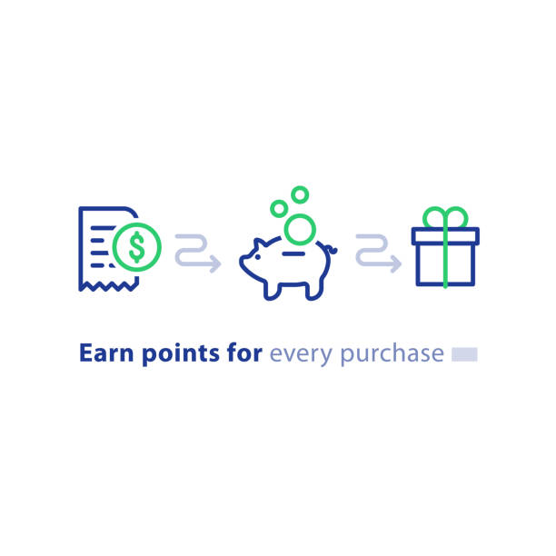 Loyalty program concept, earn points, win gift, shopping incentive, line icons Earn points for purchase concept, loyalty program, cash back, marketing and promotion, reward gift, get bonus, vector line icons incentive stock illustrations