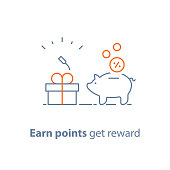 Earn points and get reward, loyalty program, marketing concept, piggy bank with coins and small gift box, charity donation, vector line icon, thin stroke illustration