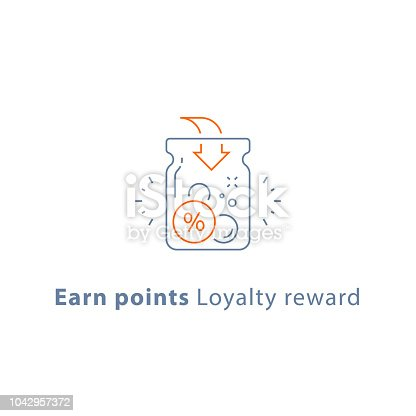 Earn points, loyalty reward program, cash back, donation concept, vector line icon, thin stroke illustration