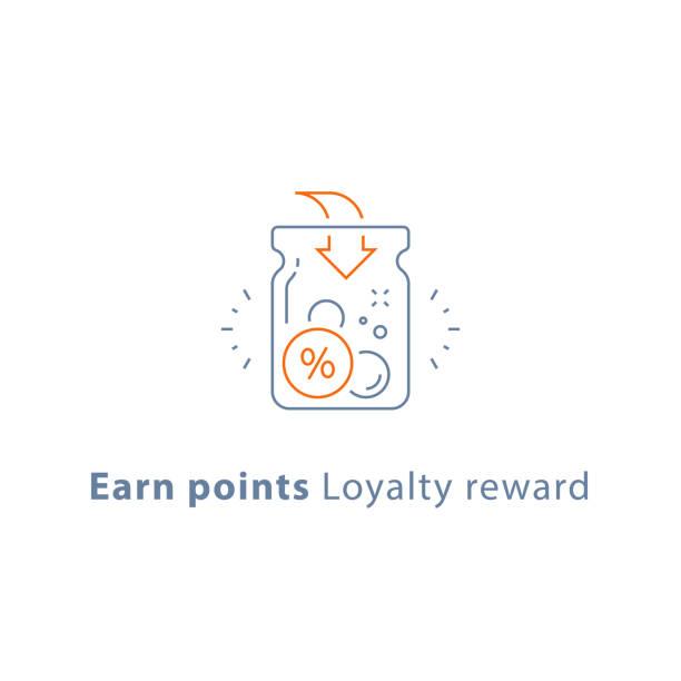 Loyalty program, earn points and get reward, marketing concept Earn points, loyalty reward program, cash back, donation concept, vector line icon, thin stroke illustration jar stock illustrations