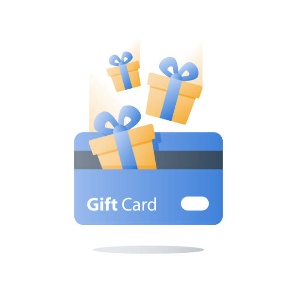 Loyalty program, earn reward, gift card, perks concept, vector flat icon