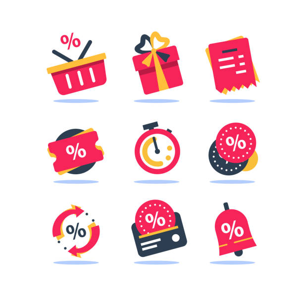 Loyalty program icon set, earn bonus points, discount coupon, limited time period, cash back