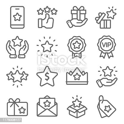 Loyalty Program icons set vector illustration. Contains such icon as VIP, Benefit, Voucher, Exclusive, Badge, Winner and more. Expanded Stroke