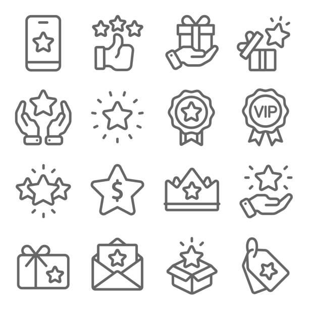 ikony programu lojalnościowego ustawiają ilustrację wektorową. zawiera takie ikony jak vip, benefit, voucher, exclusive, badge, winner i inne. rozszerzony skok - gift stock illustrations