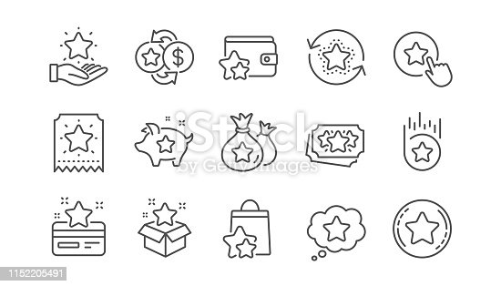 Loyalty program line icons. Bonus card, Redeem gift and discount coupon signs. Lottery ticket, Earn reward and winner gift icons. Linear set. Vector