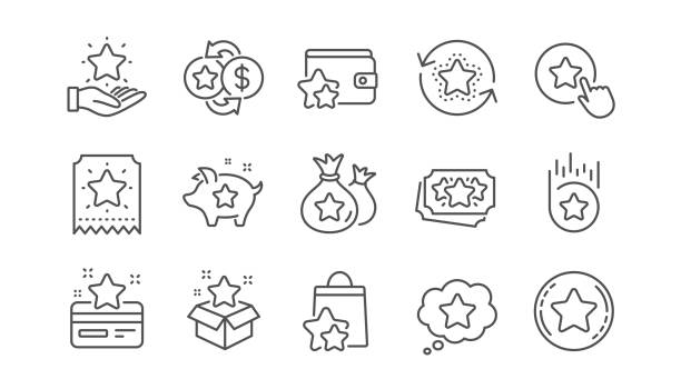 Loyalty program line icons. Bonus card, Redeem gift and discount coupon. Linear set. Vector Loyalty program line icons. Bonus card, Redeem gift and discount coupon signs. Lottery ticket, Earn reward and winner gift icons. Linear set. Vector incentive stock illustrations