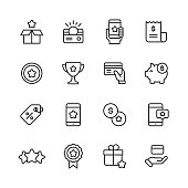 16 Loyalty Program Outline Icons. Loyalty, Gift, Box, Shipping, Benefits, Perks, Loyalty Card, Gift Card, Money, Finance, Savings, Mobile App, Digital Marketing, Customer Experience, Invoice, Coin, Award, Payments, Piggy Bank, Label, Promotion, Exchange, Smartphone, Five Star, Rating, Quality, Badge, Web Banner, Credit Card, Shopping, Sale, Wealth, Comparison, Satisfaction.