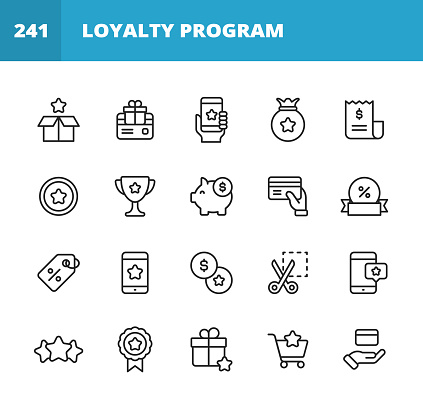 20 Loyalty Program Outline Icons. Loyalty, Gift, Box, Shipping, Benefits, Perks, Loyalty Card, Gift Card, Money, Finance, Savings, Mobile App, Digital Marketing, Customer Experience, Invoice, Coin, Award, Payments, Piggy Bank, Label, Promotion, Exchange, Smartphone, Five Star, Rating, Quality, Badge, Web Banner, Credit Card, Shopping, Sale, Wealth, Comparison, Satisfaction.