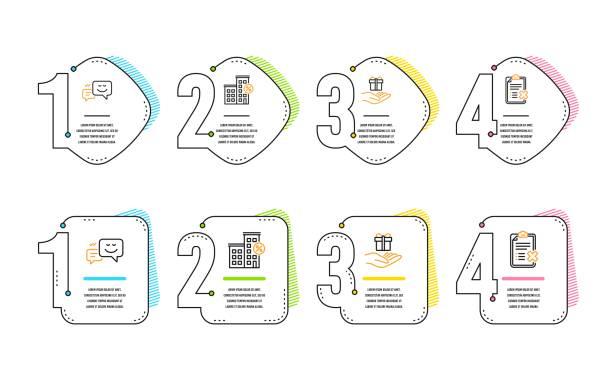 loyalitätsprogramm, kredithaus und happy emojis ikonen gesetzt. prüflist-zeichen ausschreiben. vektor - hypotheken kündigung stock-grafiken, -clipart, -cartoons und -symbole