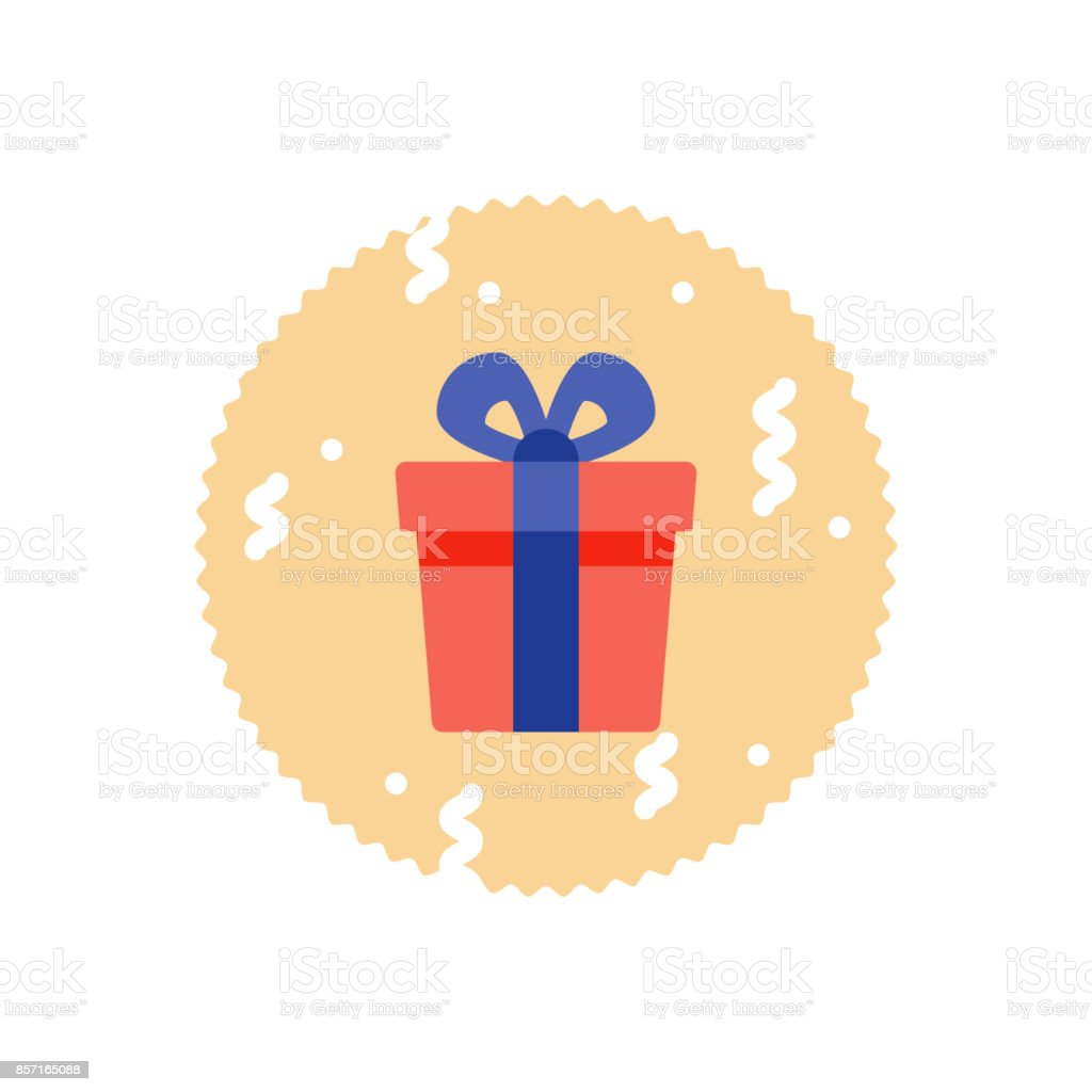 Loyalty reward prize, surprising gift box, super present, birthday gift, flat icon vector art illustration