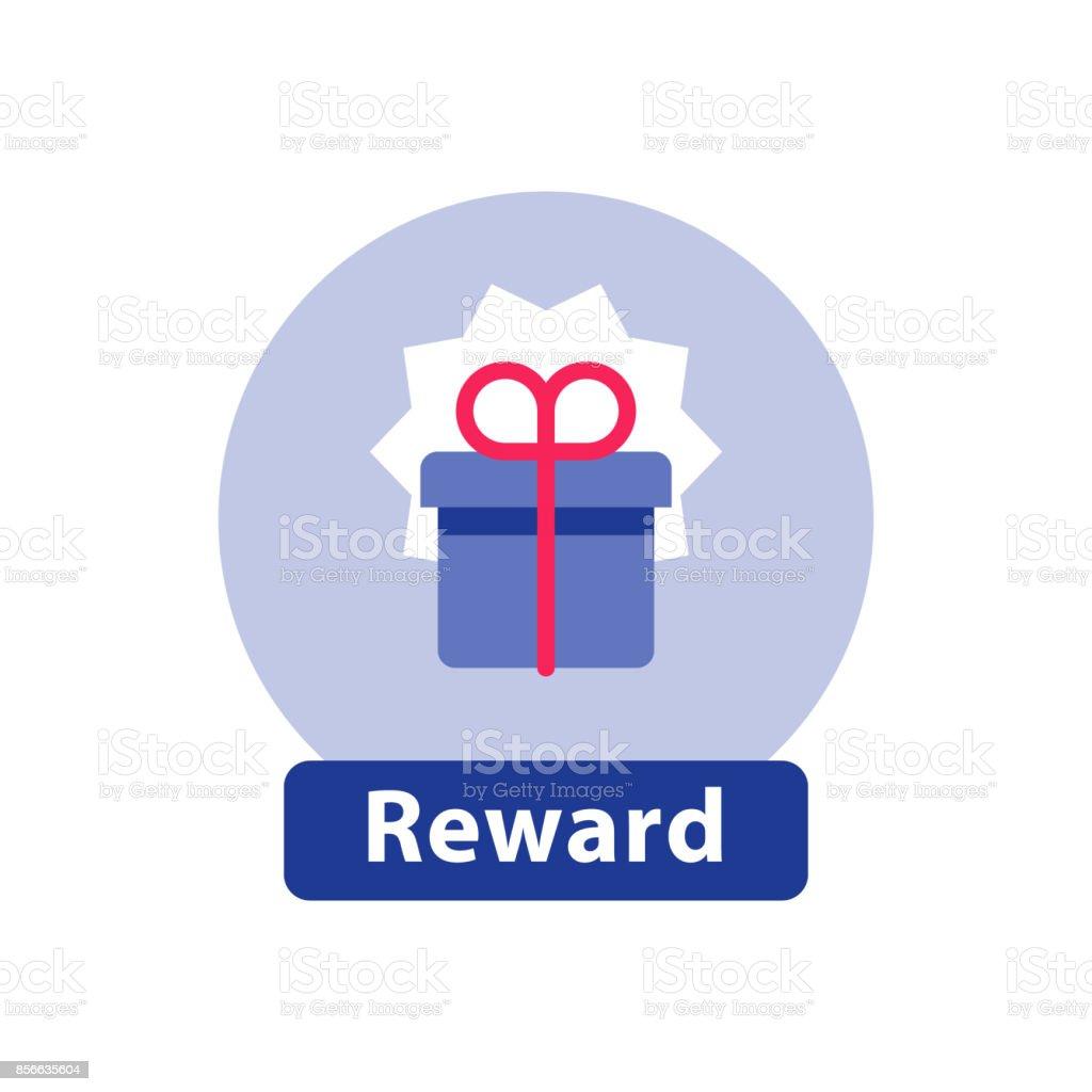 Recompensa da fidelidade, caixa de presente surpreendente, super presente, ganhar o prêmio, ícone plana - ilustração de arte em vetor