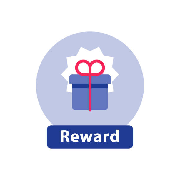 Loyalty reward, surprising gift box, super present, win prize, flat icon vector art illustration