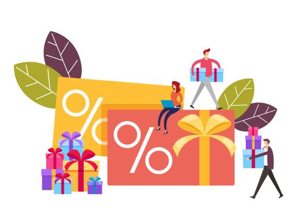 Treue Verkauf persönliche Karte Konzept. Vektor-Grafik-Design flache Cartoon-Illustration – Vektorgrafik