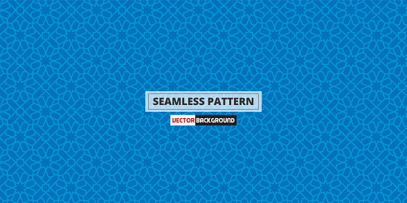 lslamic pattern seamless background in blue color.