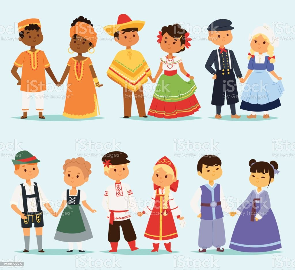 Lttle kids children couples character of world dress girls and boys in different traditional national costumes and cute nationality dress vector illustration vector art illustration