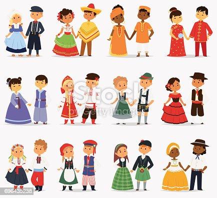 Lttle Kids Children Couples Character Of World Dress Girls