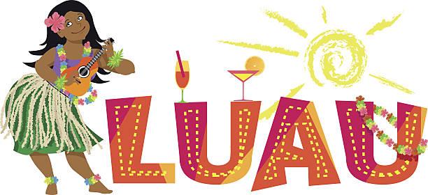 luau banner - hawaiian lei stock illustrations, clip art, cartoons, & icons