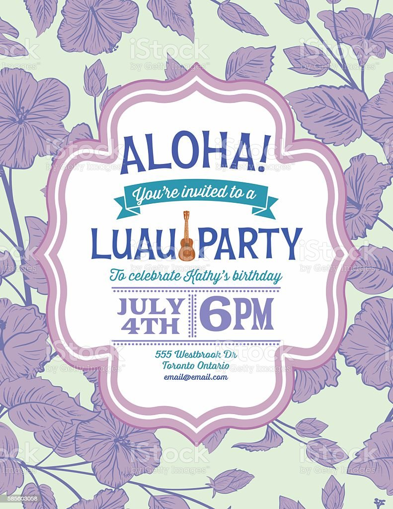luau party invitation with frame text on a hibiscus background