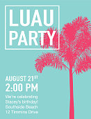 Luau Party Invitation with Sunset and Palm Trees